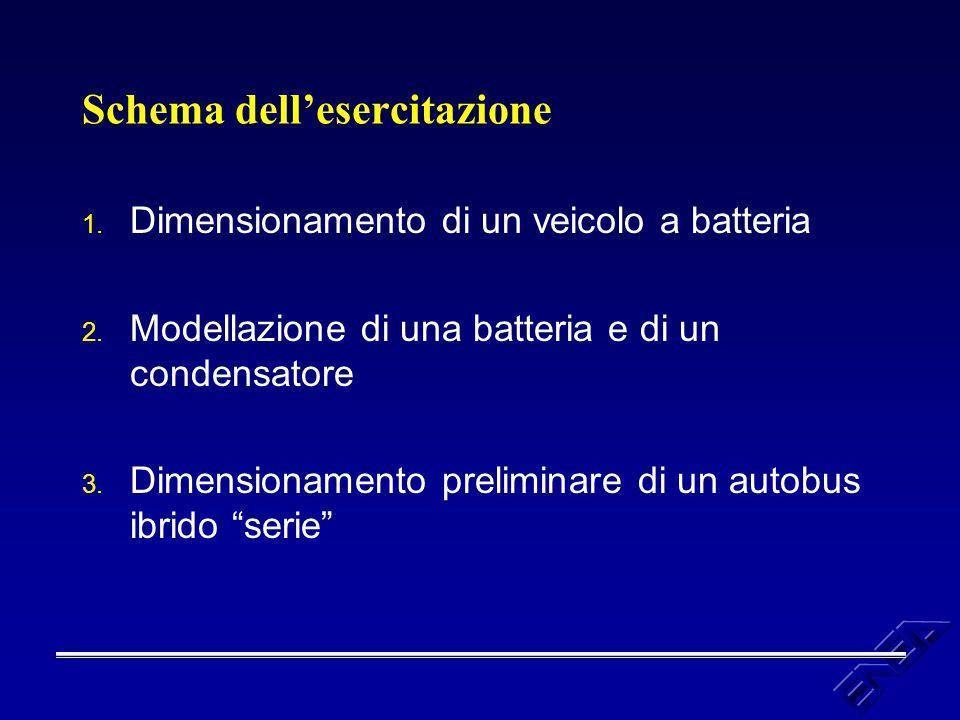 Schema dell'esercitazione 1. Dimensionamento di un veicolo a batteria 2. Modellazione di una batteria e di un condensatore 3. Dimensionamento prelimin