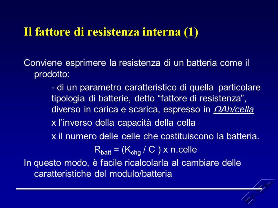 Il fattore di resistenza interna (1) Conviene esprimere la resistenza di un batteria come il prodotto: - di un parametro caratteristico di quella part