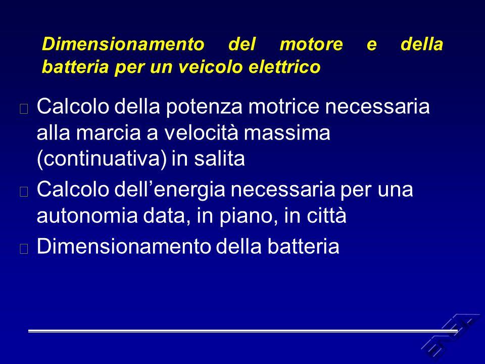Dimensionamento del motore e della batteria per un veicolo elettrico u Calcolo della potenza motrice necessaria alla marcia a velocità massima (contin