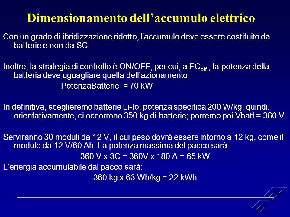 Dimensionamento dell'accumulo elettrico Con un grado di ibridizzazione ridotto, l'accumulo deve essere costituito da batterie e non da SC Inoltre, la