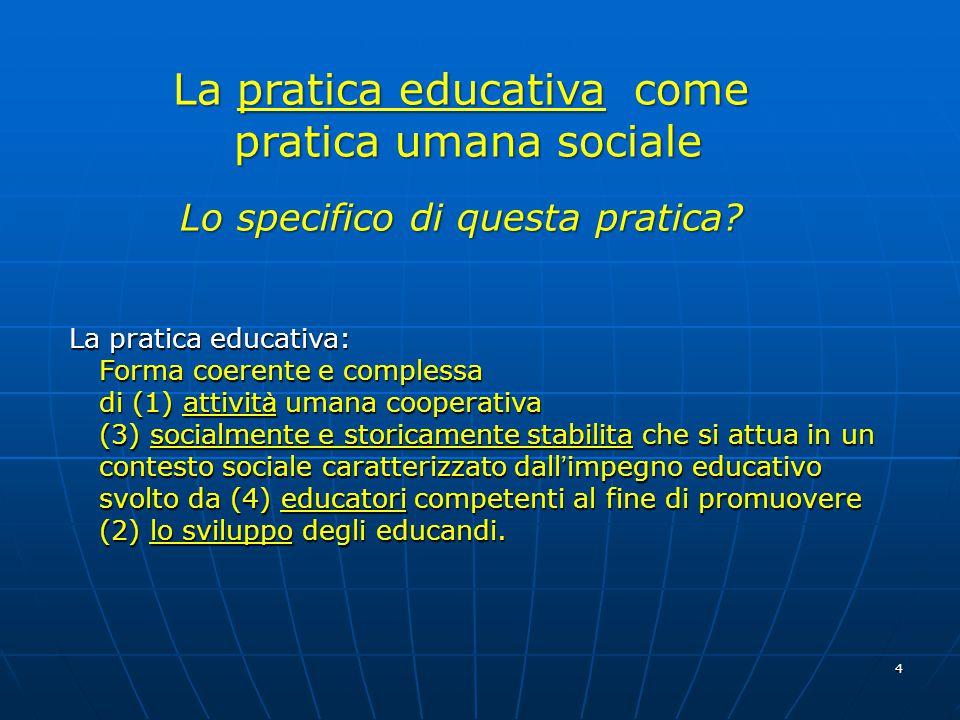 4 La pratica educativa come pratica umana sociale pratica umana sociale Lo specifico di questa pratica.