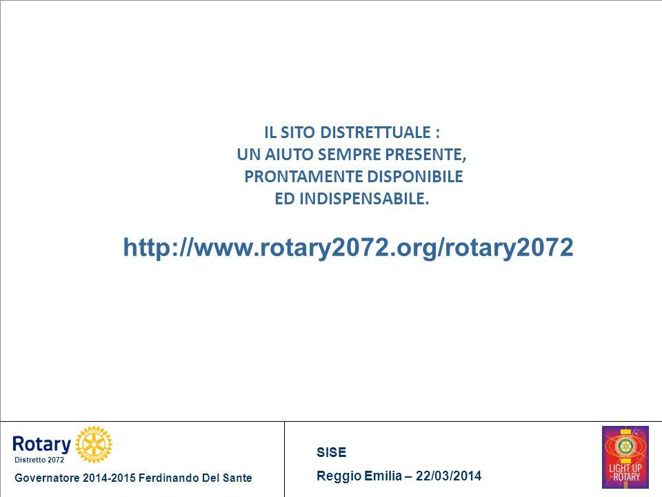 Distretto 2072 Governatore 2014-2015 Ferdinando Del Sante SISE Reggio Emilia – 22/03/2014 IL SITO DISTRETTUALE : UN AIUTO SEMPRE PRESENTE, PRONTAMENTE DISPONIBILE ED INDISPENSABILE.