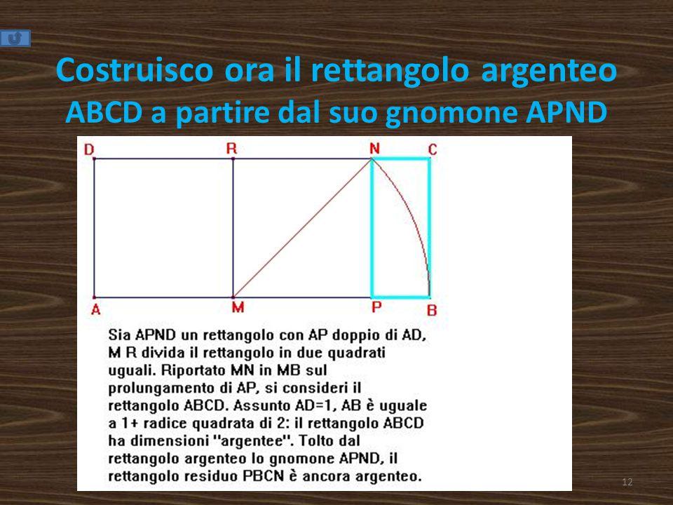Costruisco ora il rettangolo argenteo ABCD a partire dal suo gnomone APND 12