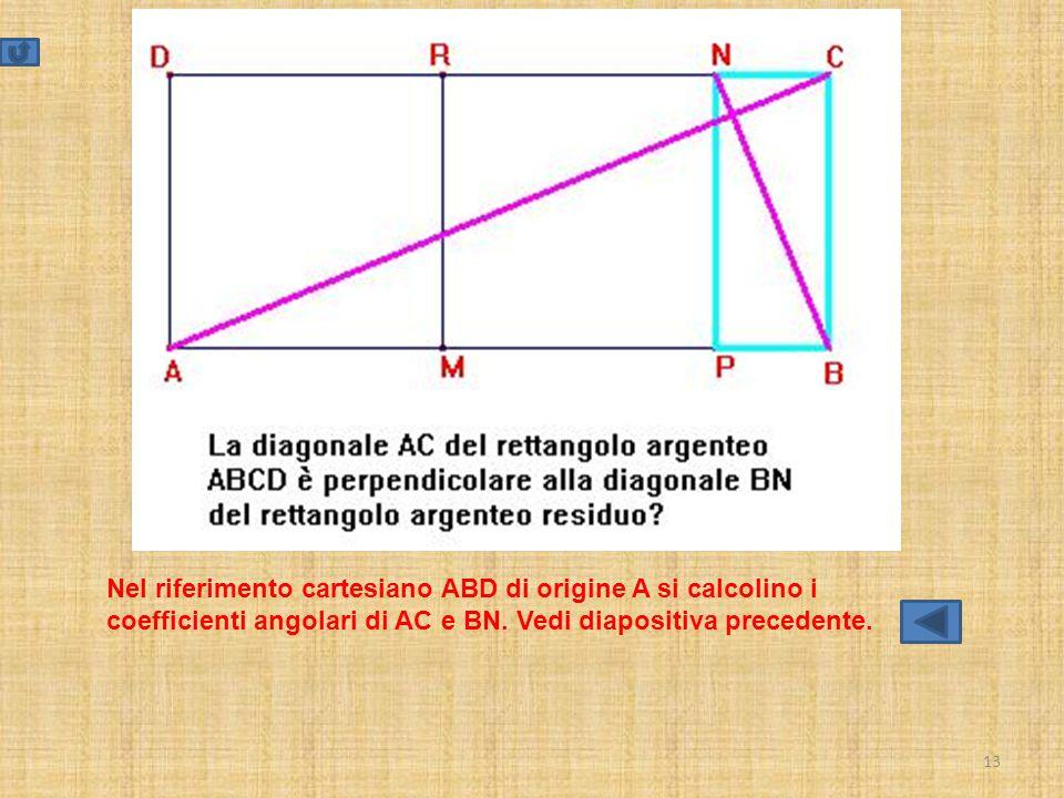13 Nel riferimento cartesiano ABD di origine A si calcolino i coefficienti angolari di AC e BN. Vedi diapositiva precedente.