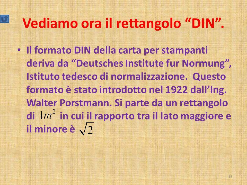 """Vediamo ora il rettangolo """"DIN"""". Il formato DIN della carta per stampanti deriva da """"Deutsches Institute fur Normung"""", Istituto tedesco di normalizzaz"""
