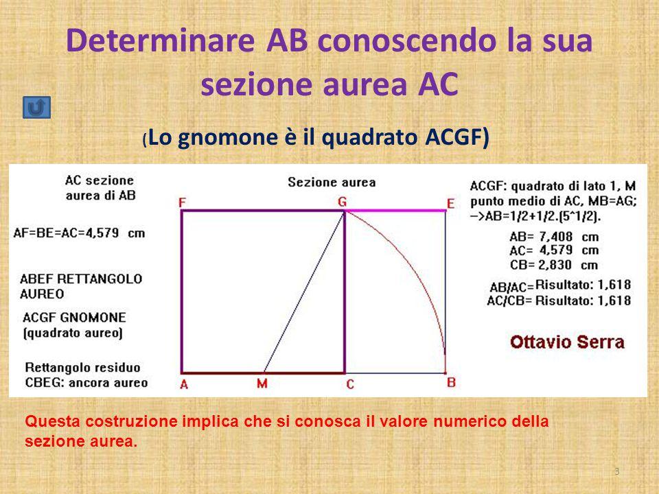 Determinare AB conoscendo la sua sezione aurea AC 3 ( Lo gnomone è il quadrato ACGF) Questa costruzione implica che si conosca il valore numerico dell