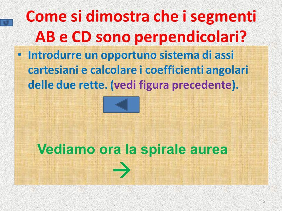 I rettangoli aurei convergono al punto di inter_ sezione di AB e CD, che è anche polo della spirale 6