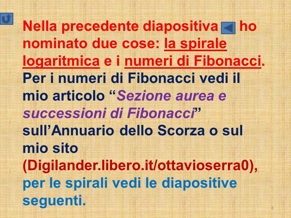 """8 Nella precedente diapositiva ho nominato due cose: la spirale logaritmica e i numeri di Fibonacci. Per i numeri di Fibonacci vedi il mio articolo """"S"""