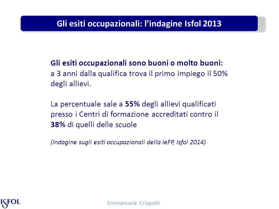 Emmanuele Crispolti Gli esiti occupazionali: l'indagine Isfol 2013 Gli esiti occupazionali sono buoni o molto buoni: a 3 anni dalla qualifica trova il primo impiego il 50% degli allievi.
