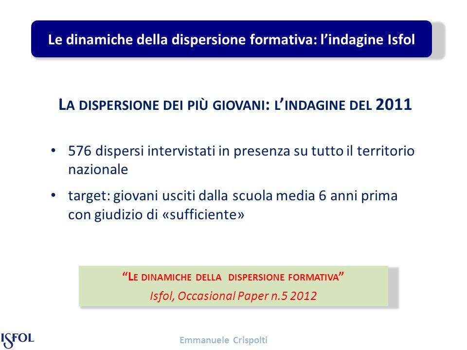 Emmanuele Crispolti Il ruolo delle reti di supporto Tra i ragazzi inseriti nei percorsi formativi, il 12% è ricorso ad un esperto dell'orientamento.