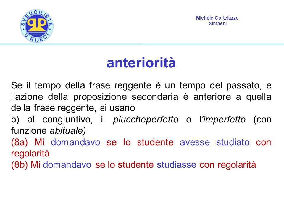 Michele Cortelazzo Sintassi anteriorità Se il tempo della frase reggente è un tempo del passato, e l'azione della proposizione secondaria è anteriore
