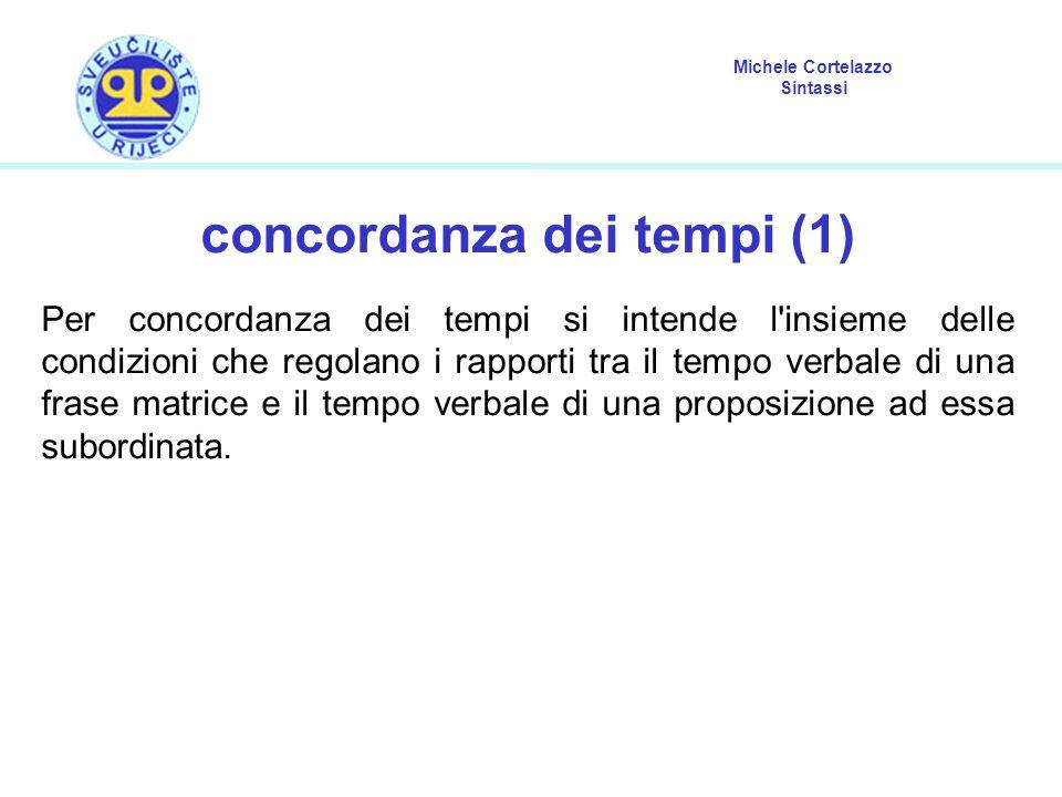 Michele Cortelazzo Sintassi concordanza dei tempi (2) In italiano, le regole della concordanza dei tempi non sono molto numerose.