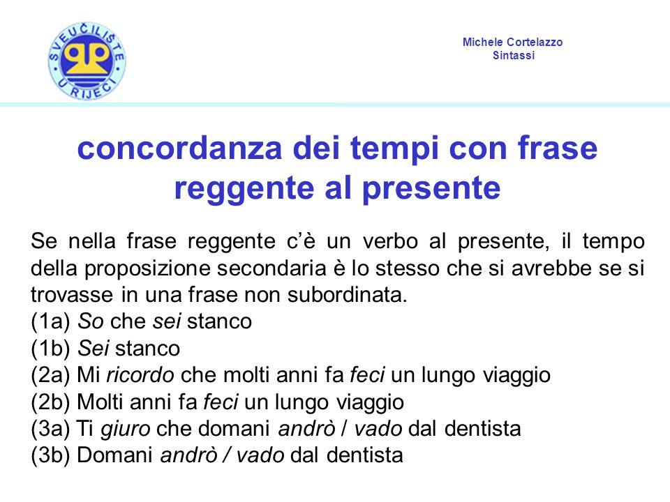 Michele Cortelazzo Sintassi concordanza dei tempi con frase reggente al presente Se nella frase reggente c'è un verbo al presente, il tempo della prop
