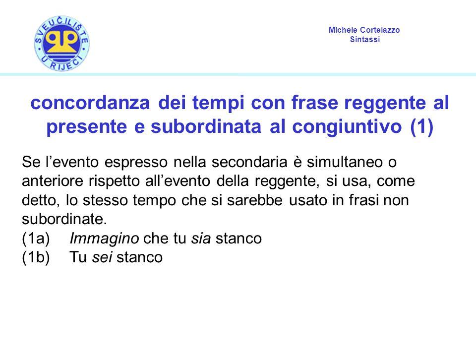 Michele Cortelazzo Sintassi concordanza dei tempi con frase reggente al presente e subordinata al congiuntivo (1) Se l'evento espresso nella secondari