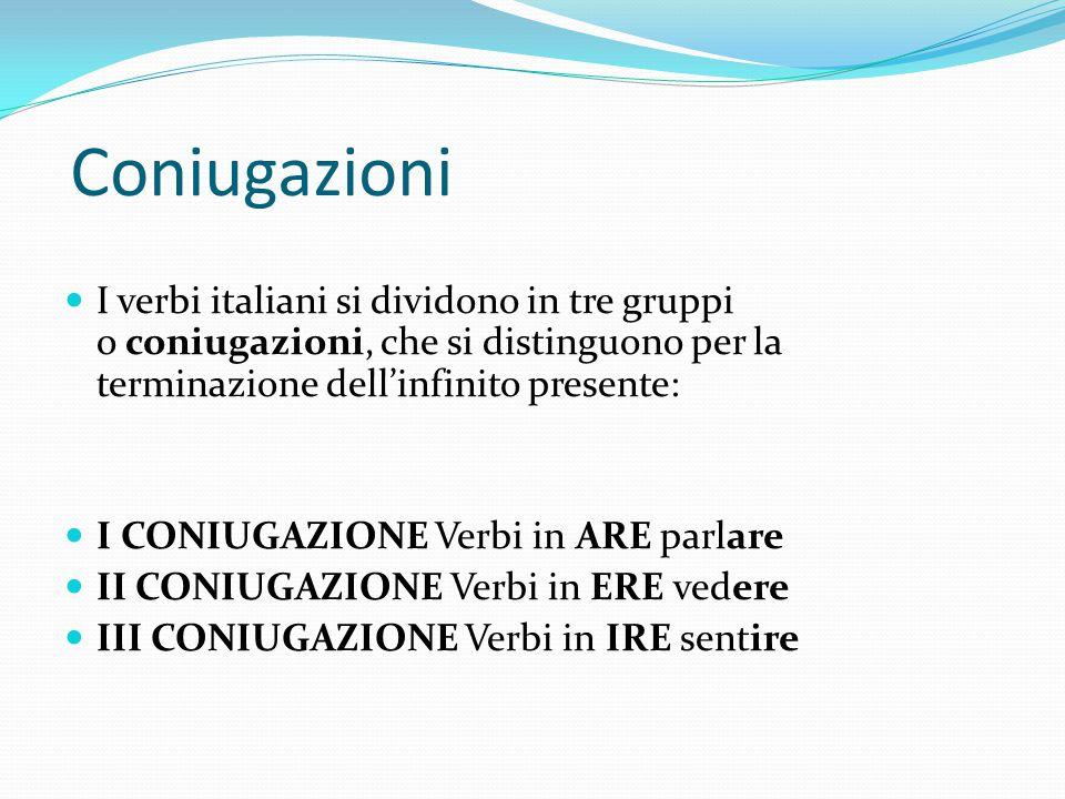 Coniugazioni I verbi italiani si dividono in tre gruppi o coniugazioni, che si distinguono per la terminazione dell'infinito presente: I CONIUGAZIONE