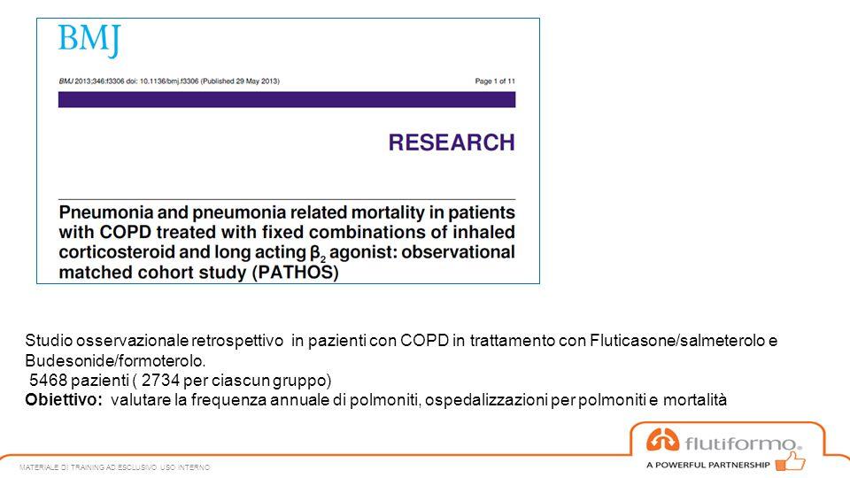 Studio osservazionale retrospettivo in pazienti con COPD in trattamento con Fluticasone/salmeterolo e Budesonide/formoterolo. 5468 pazienti ( 2734 per
