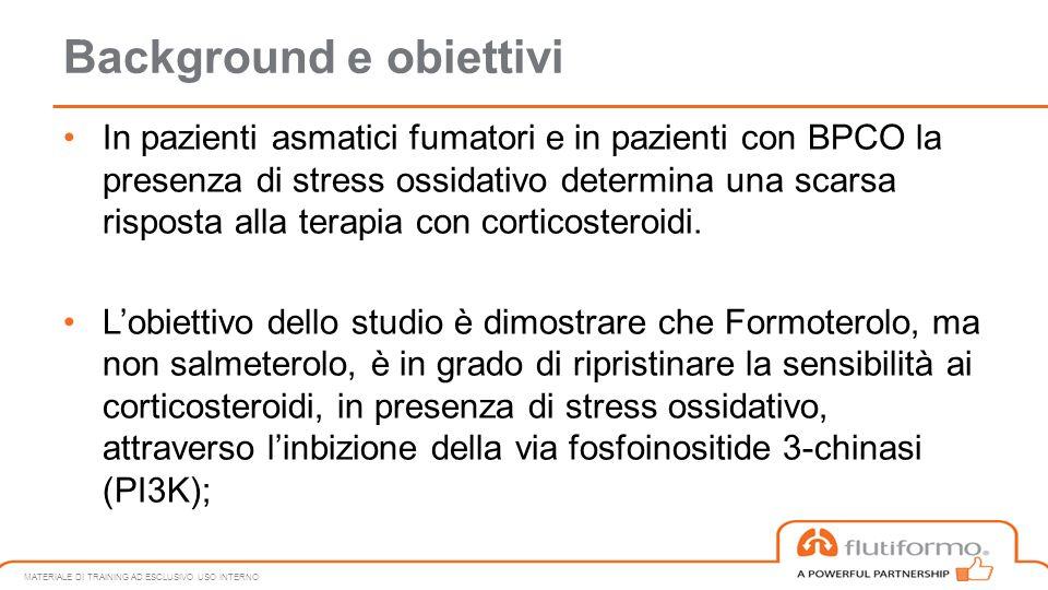 Background e obiettivi In pazienti asmatici fumatori e in pazienti con BPCO la presenza di stress ossidativo determina una scarsa risposta alla terapi