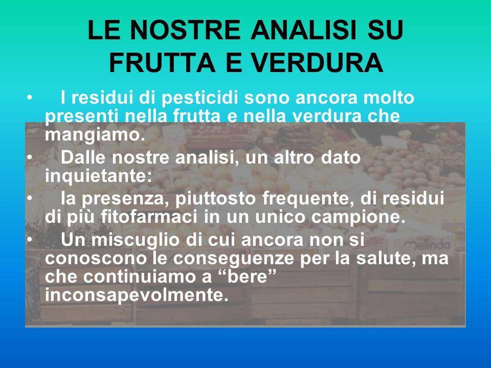 LE NOSTRE ANALISI SU FRUTTA E VERDURA I residui di pesticidi sono ancora molto presenti nella frutta e nella verdura che mangiamo. Dalle nostre analis