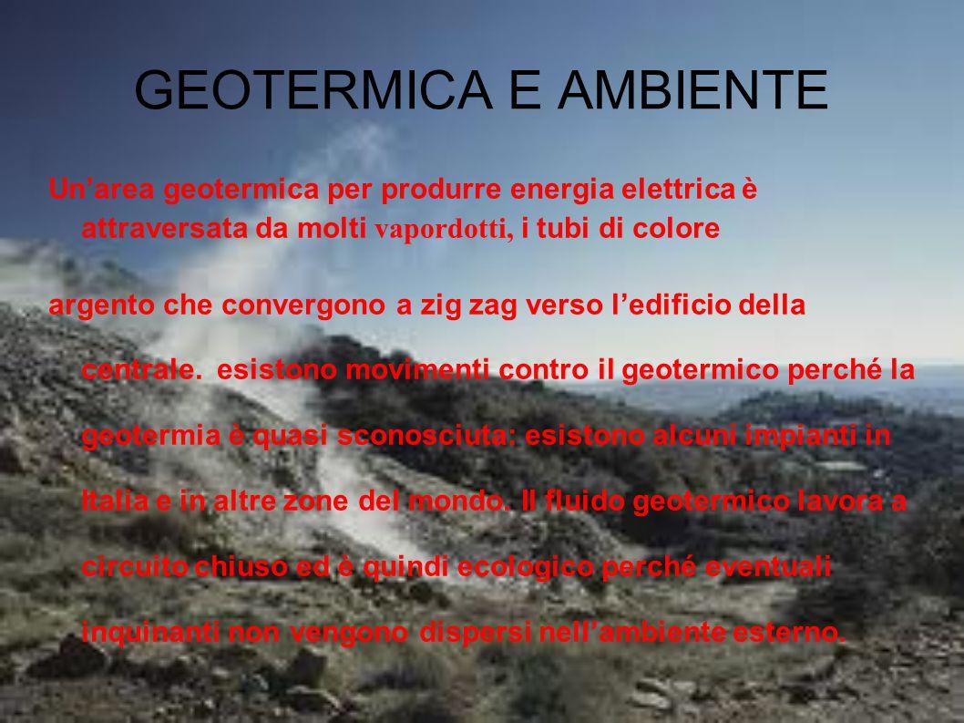 GEOTERMICA E AMBIENTE Un'area geotermica per produrre energia elettrica è attraversata da molti vapordotti, i tubi di colore argento che convergono a