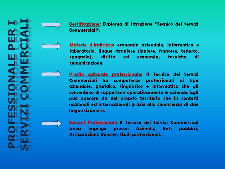 """Certificazione: Diploma di Istruzione """"Tecnico dei Servizi Commerciali"""". Materie d'indirizzo: economia aziendale, informatica e laboratorio, lingue st"""