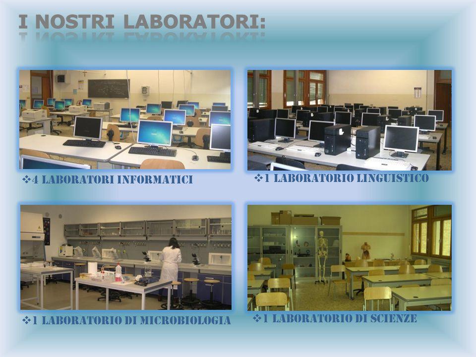 44 LABORATORI INFORMATICI 11 LABORATORIO LINGUISTICO 11 LABORATORIO DI MICROBIOLOGIA 11 LABORATORIO DI SCIENZE