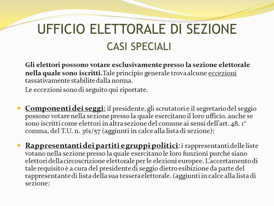 Gli elettori possono votare esclusivamente presso la sezione elettorale nella quale sono iscritti.Tale principio generale trova alcune eccezioni tassativamente stabilite dalla norma.