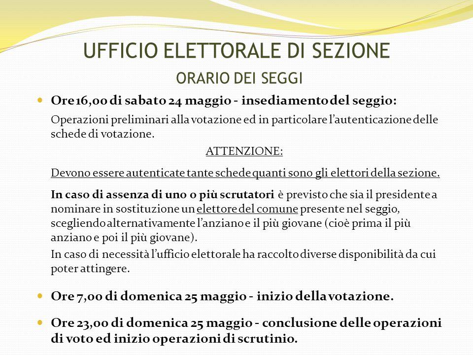 UFFICIO ELETTORALE DI SEZIONE ORARIO DEI SEGGI Ore 16,00 di sabato 24 maggio - insediamento del seggio: Operazioni preliminari alla votazione ed in particolare l'autenticazione delle schede di votazione.