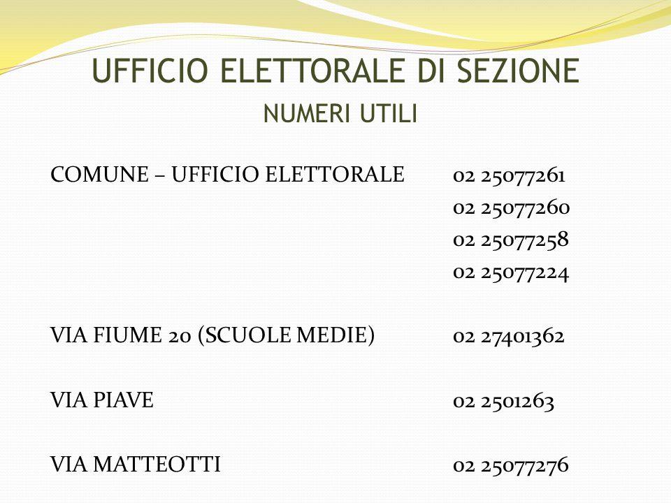 COMUNE – UFFICIO ELETTORALE 02 25077261 02 25077260 02 25077258 02 25077224 VIA FIUME 20 (SCUOLE MEDIE)02 27401362 VIA PIAVE 02 2501263 VIA MATTEOTTI02 25077276 UFFICIO ELETTORALE DI SEZIONE NUMERI UTILI