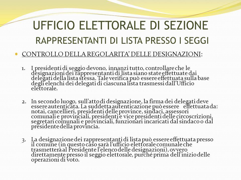 CONTROLLO DELLA REGOLARITA' DELLE DESIGNAZIONI: 1.