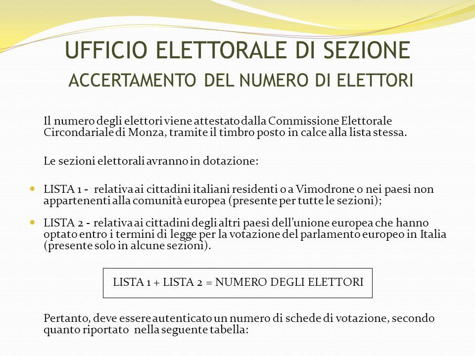 NUMERO DI VOTANTI DIVISI PER SEZIONE SEZIONE LISTA 1LISTA 2TOTALE (N.