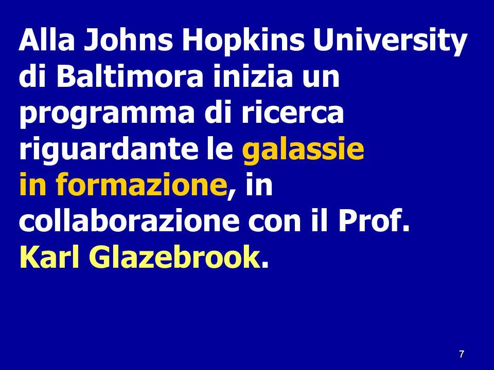7 Alla Johns Hopkins University di Baltimora inizia un programma di ricerca riguardante le galassie in formazione, in collaborazione con il Prof. Karl