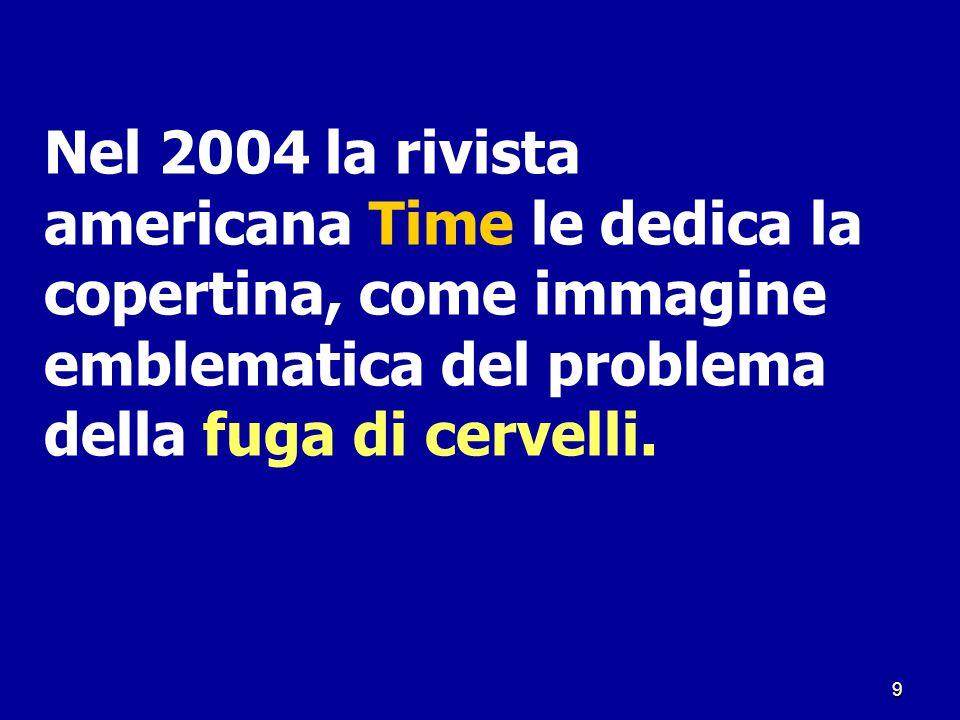 9 Nel 2004 la rivista americana Time le dedica la copertina, come immagine emblematica del problema della fuga di cervelli.