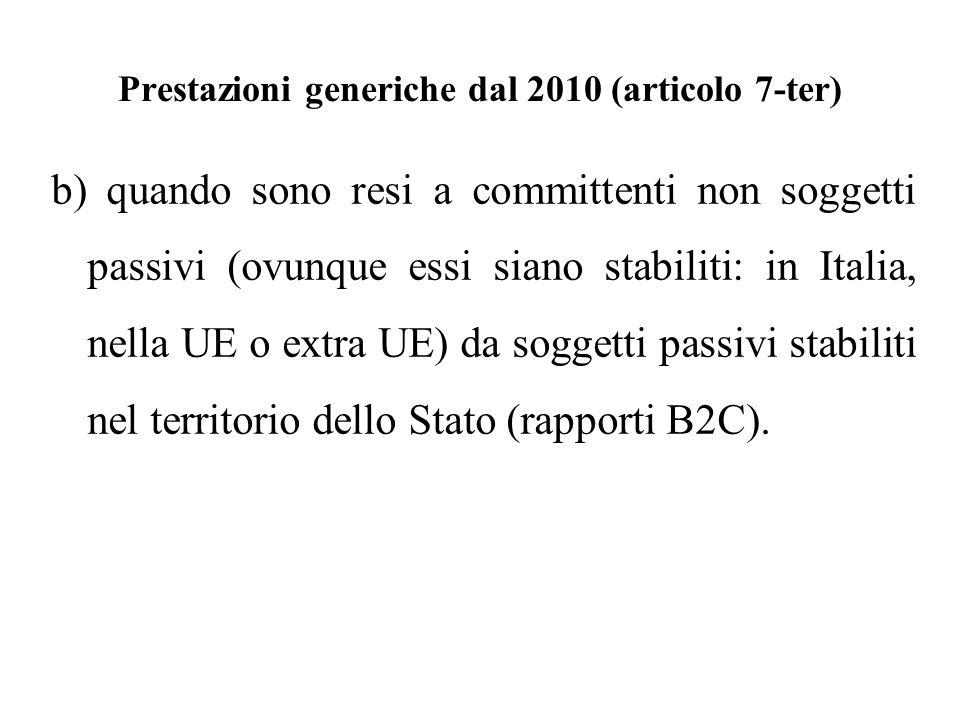 Prestazioni generiche dal 2010 (articolo 7-ter) b) quando sono resi a committenti non soggetti passivi (ovunque essi siano stabiliti: in Italia, nella