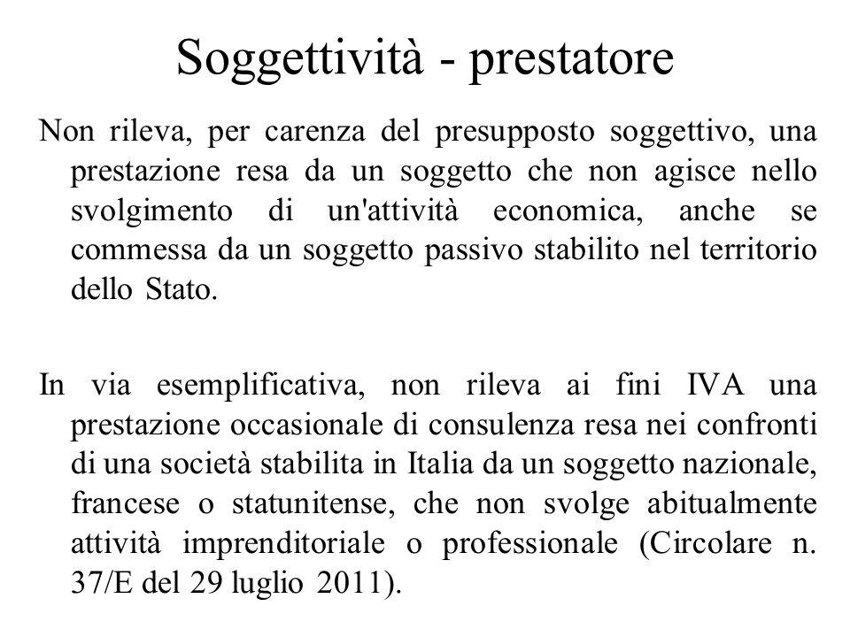 Soggettività - prestatore Non rileva, per carenza del presupposto soggettivo, una prestazione resa da un soggetto che non agisce nello svolgimento di