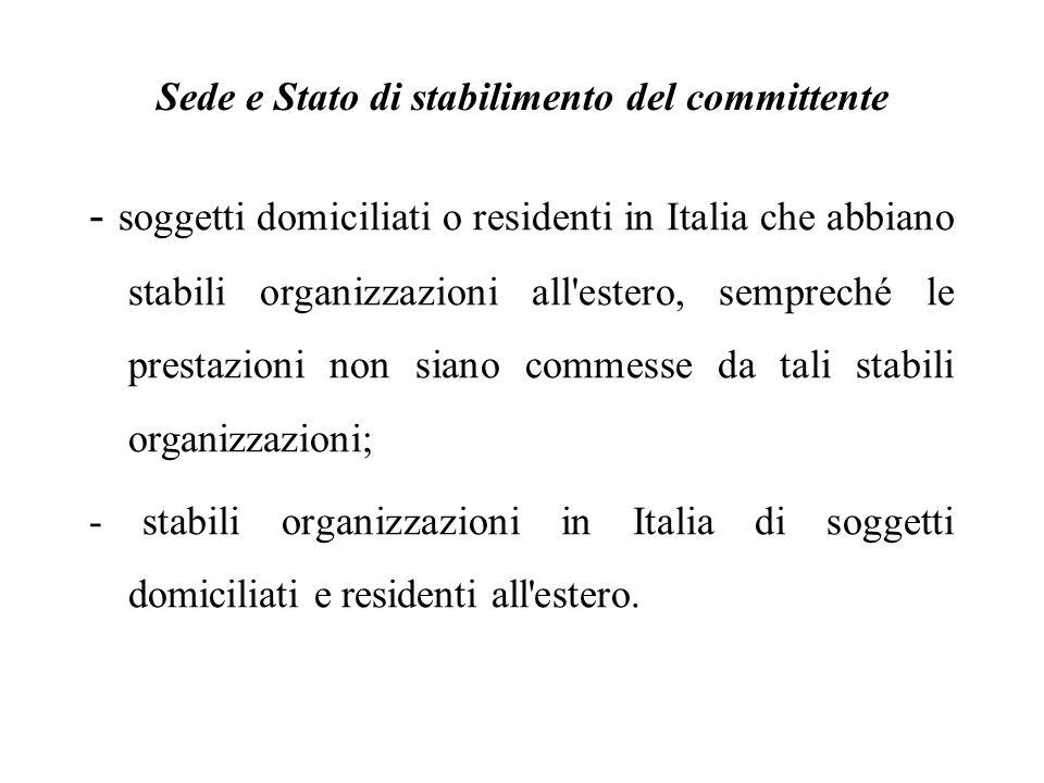 Sede e Stato di stabilimento del committente - soggetti domiciliati o residenti in Italia che abbiano stabili organizzazioni all'estero, sempreché le