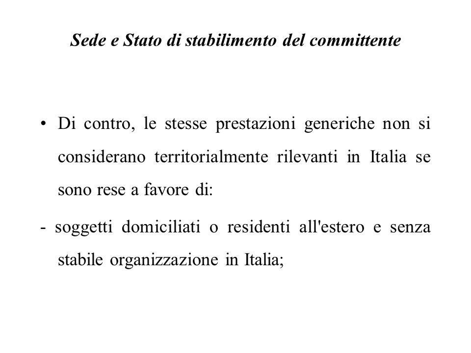 Di contro, le stesse prestazioni generiche non si considerano territorialmente rilevanti in Italia se sono rese a favore di: - soggetti domiciliati o