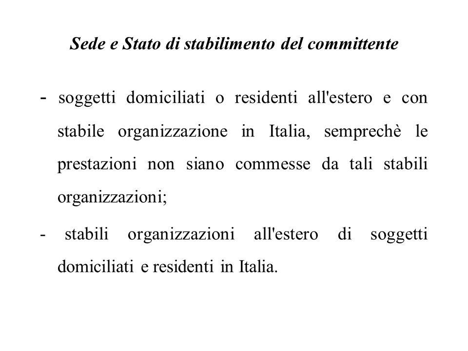 - soggetti domiciliati o residenti all'estero e con stabile organizzazione in Italia, semprechè le prestazioni non siano commesse da tali stabili orga