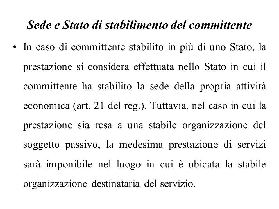 Sede e Stato di stabilimento del committente In caso di committente stabilito in più di uno Stato, la prestazione si considera effettuata nello Stato