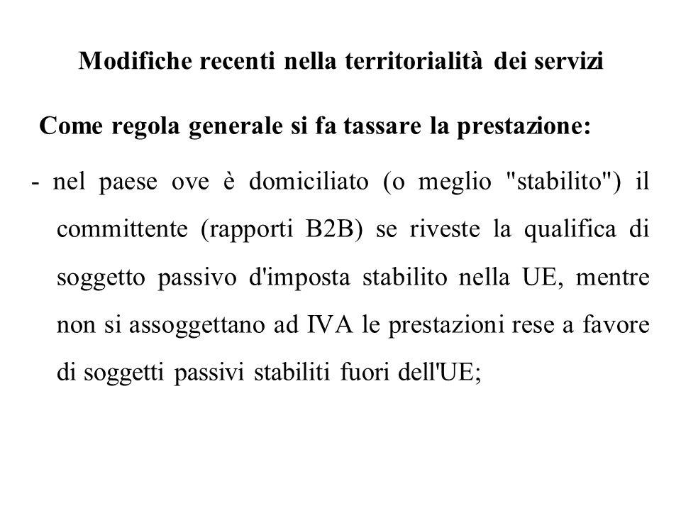 Modifiche recenti nella territorialità dei servizi Come regola generale si fa tassare la prestazione: - nel paese ove è domiciliato (o meglio