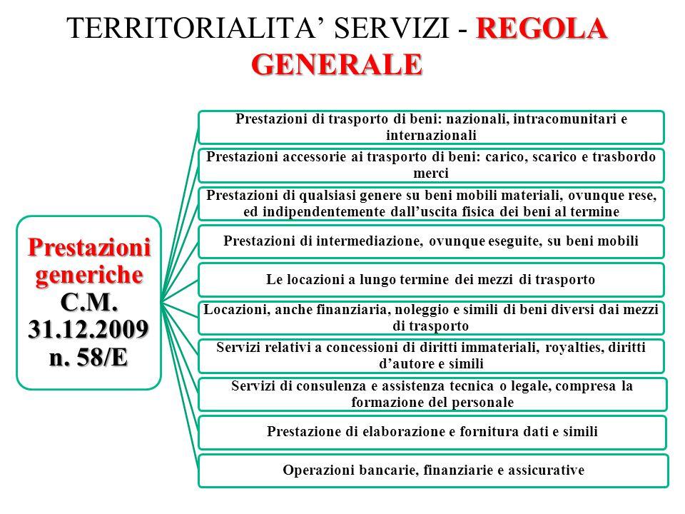 REGOLA GENERALE TERRITORIALITA' SERVIZI - REGOLA GENERALE 40 Prestazioni generiche C.M. 31.12.2009 n. 58/E Prestazioni di trasporto di beni: nazionali