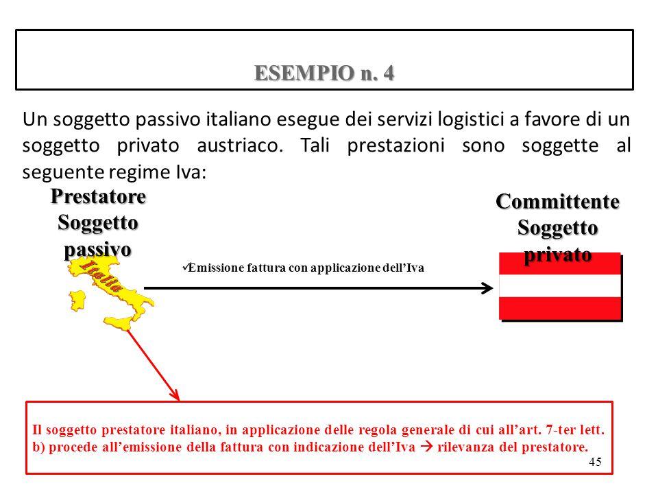 ESEMPIO n. 4 Un soggetto passivo italiano esegue dei servizi logistici a favore di un soggetto privato austriaco. Tali prestazioni sono soggette al se