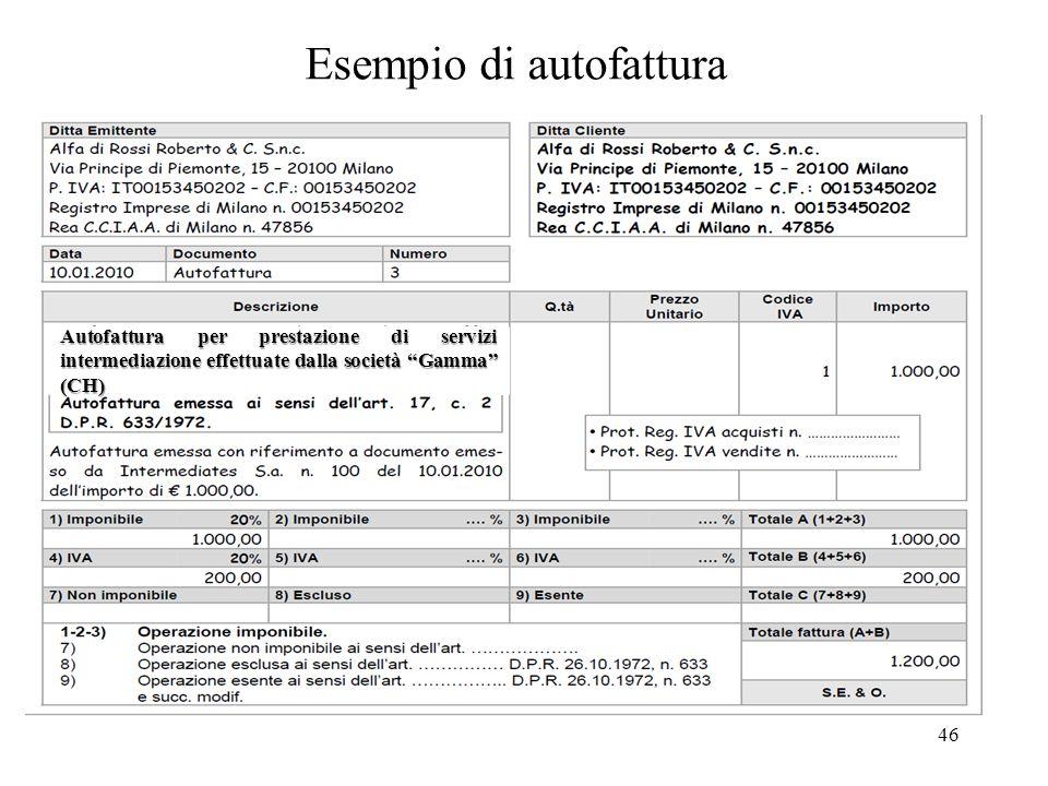 """46 Esempio di autofattura Autofattura per prestazione di servizi intermediazione effettuate dalla società """"Gamma"""" (CH)"""