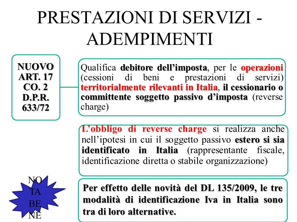 PRESTAZIONI DI SERVIZI - ADEMPIMENTI 47 NO TA BE NE NUOVO ART. 17 CO. 2 D.P.R. 633/72 debitore dell'impostaoperazioni territorialmente rilevanti in It