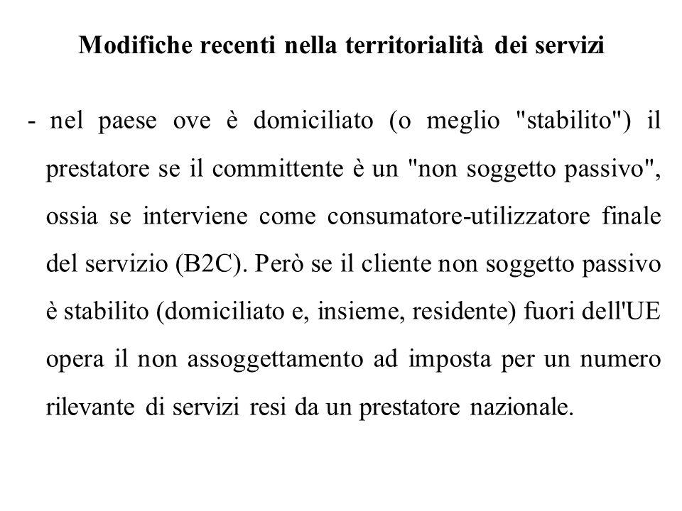 Modifiche recenti nella territorialità dei servizi - nel paese ove è domiciliato (o meglio
