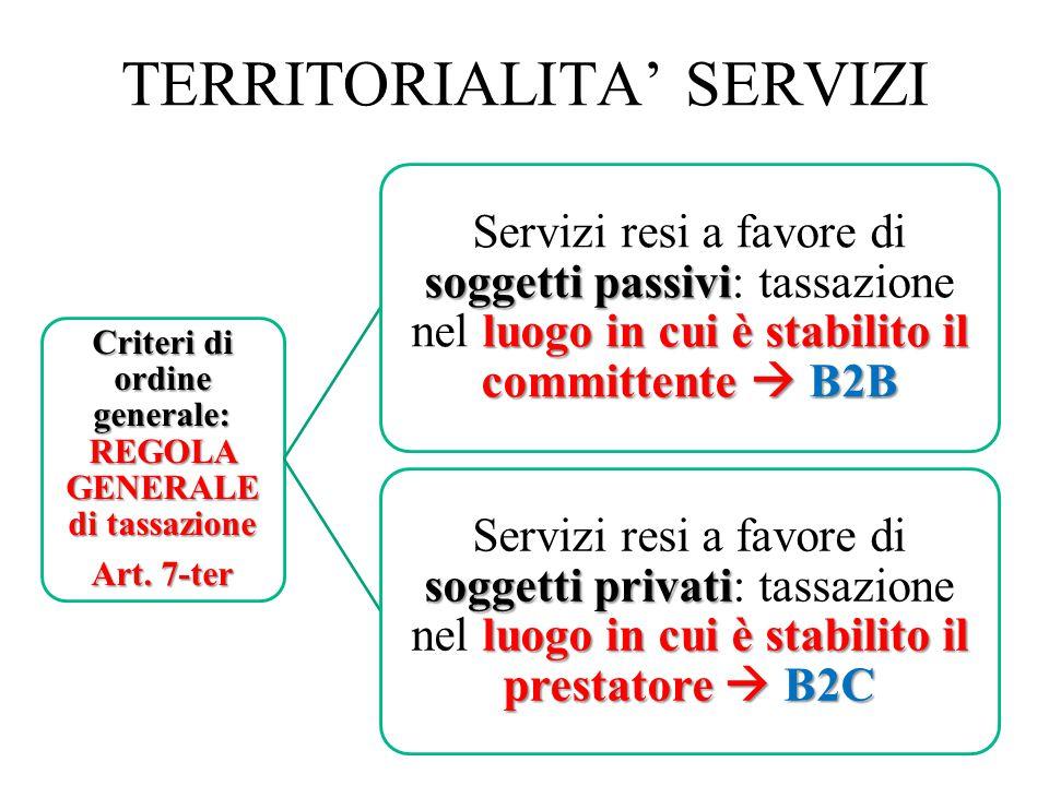 Modifiche recenti nella territorialità dei servizi Questa regola principale contiene, tuttavia, alcune deroghe per determinati servizi sia che si tratti di prestazione B2B (rese ad altri soggetti passivi d imposta) che di prestazioni B2C (rese a non soggetti passivi).