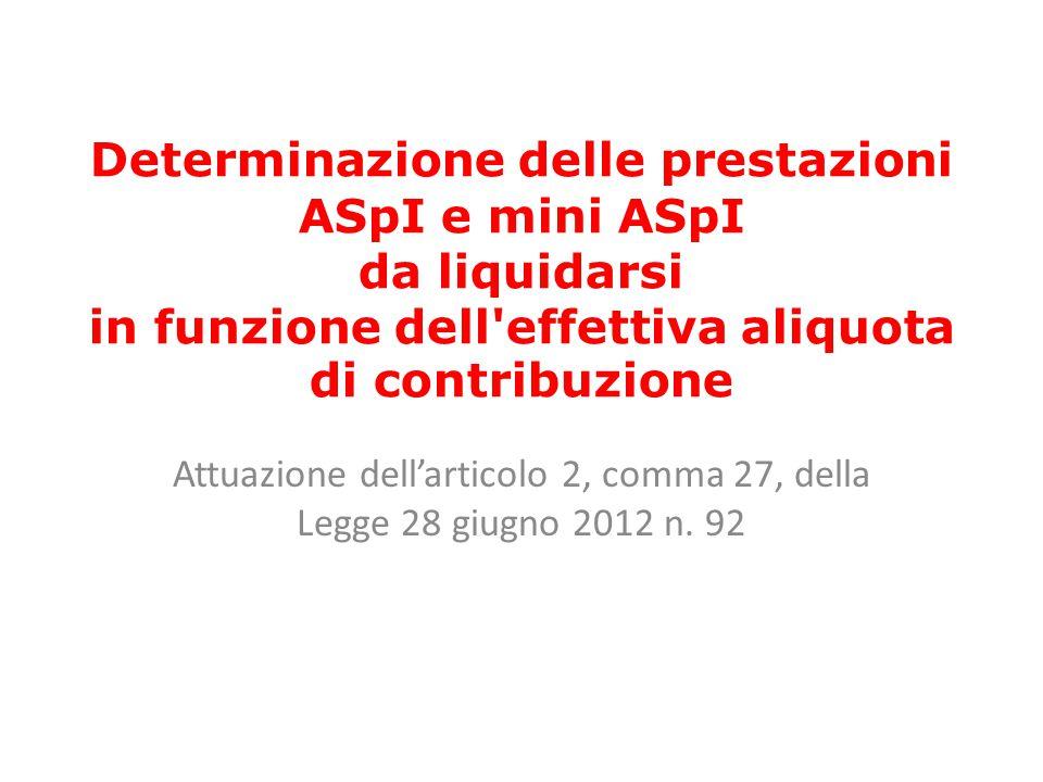 Determinazione delle prestazioni ASpI e mini ASpI da liquidarsi in funzione dell'effettiva aliquota di contribuzione Attuazione dell'articolo 2, comma