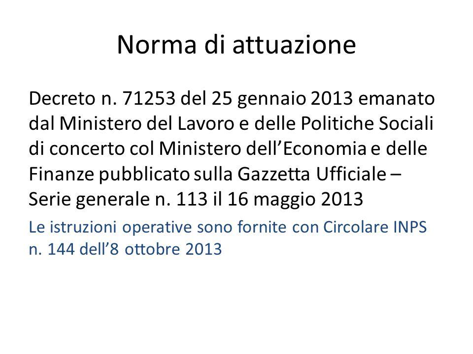 Norma di attuazione Decreto n. 71253 del 25 gennaio 2013 emanato dal Ministero del Lavoro e delle Politiche Sociali di concerto col Ministero dell'Eco