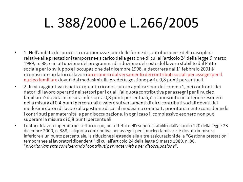 L. 388/2000 e L.266/2005 1. Nell'ambito del processo di armonizzazione delle forme di contribuzione e della disciplina relative alle prestazioni tempo