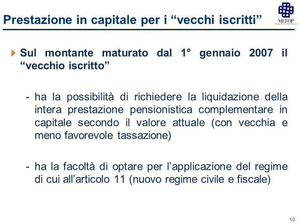 """10 Prestazione in capitale per i """"vecchi iscritti"""" Sul montante maturato dal 1° gennaio 2007 il """"vecchio iscritto"""" -ha la possibilità di richiedere la"""