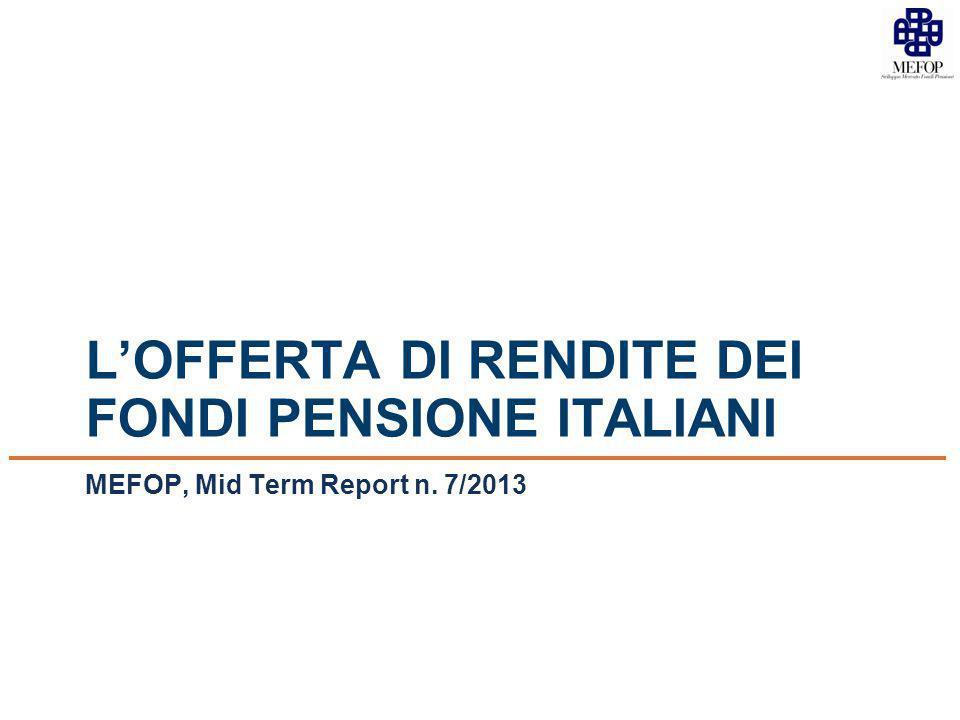 L'OFFERTA DI RENDITE DEI FONDI PENSIONE ITALIANI MEFOP, Mid Term Report n. 7/2013